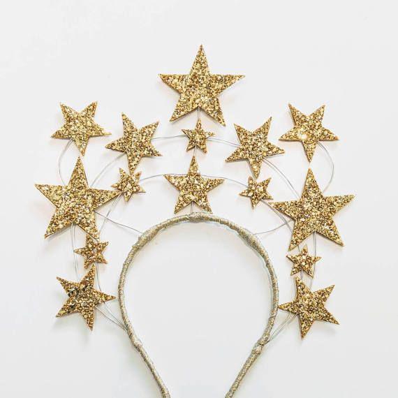 Glittery Queen Hedy Star Crown Headband...Burlesque Valentines Pinup Vintage #crownheadband