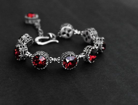 Burgundy Bracelet Swarovski Tennis Bracelet Gothic Jewelry Red Swarovski Bracelet Gothic Bracelet Burgundy Jewelry valentine's day gift