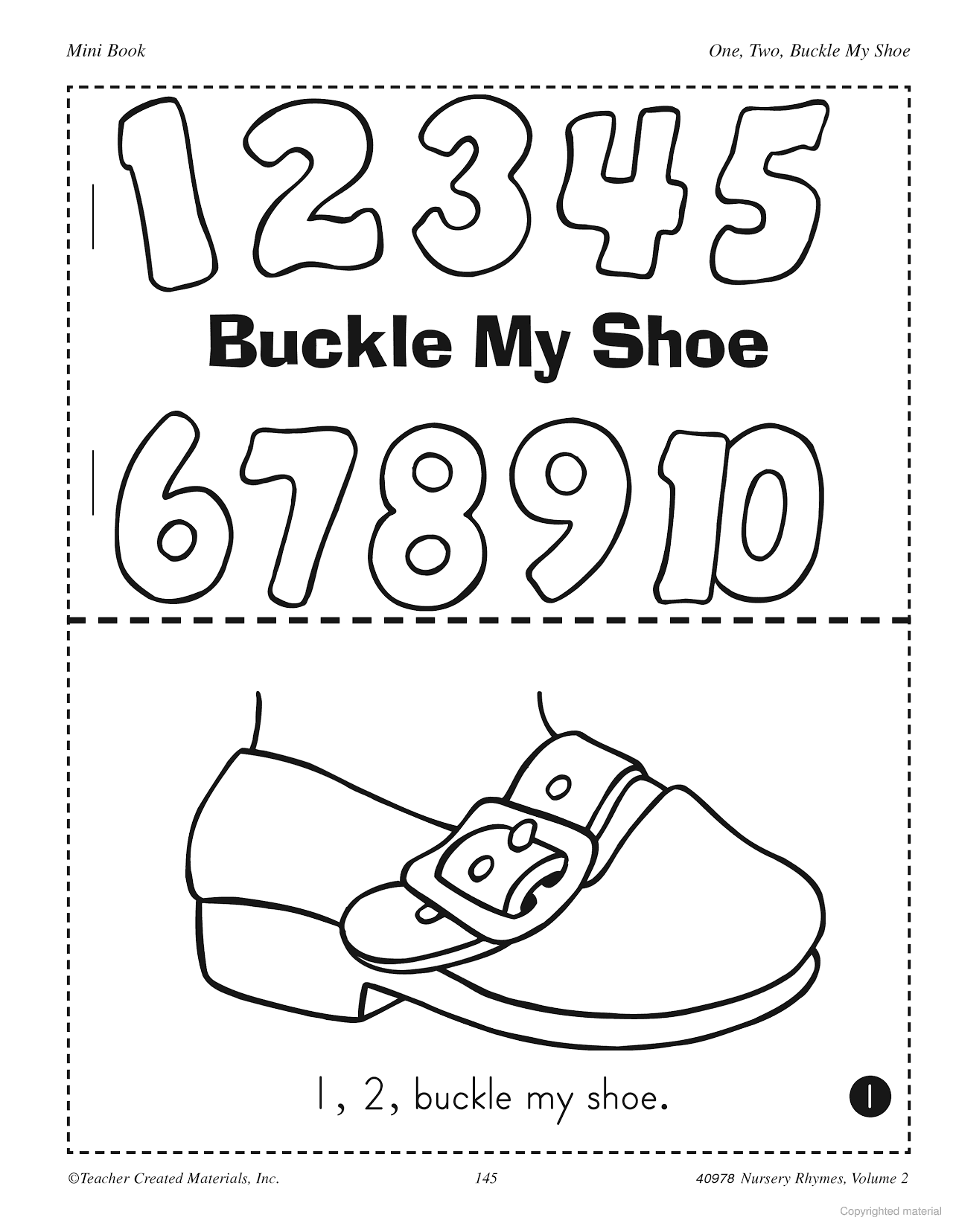 Learning Center Activities For One Two Buckle My Shoe