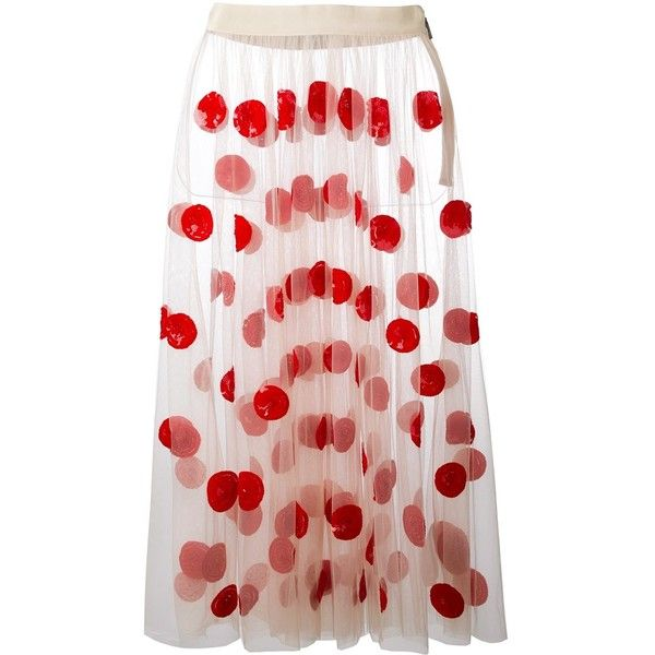 MSGM dot design tulle skirt (€485) ❤ liked on Polyvore featuring skirts, embroidered skirt, long patterned skirt, print skirt, pink polka dot skirt and pink tulle skirt