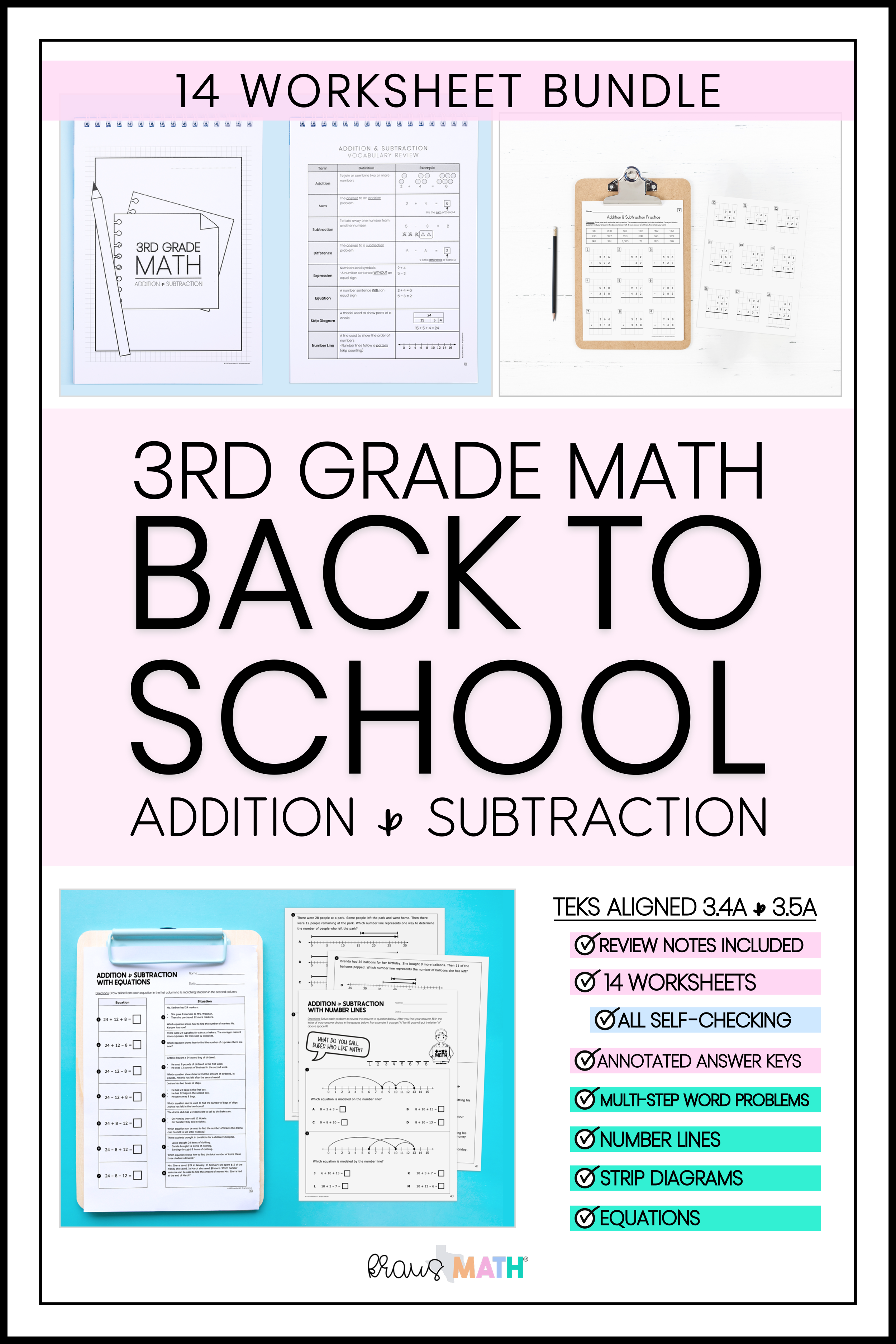3rd Grade Math Packet 2 Addition Subtraction Kraus Math 3rd Grade Math Math Packets Math Facts [ 3750 x 2500 Pixel ]