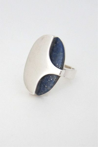 NE From, Denmark - vintage sterling silver and lapis large ring