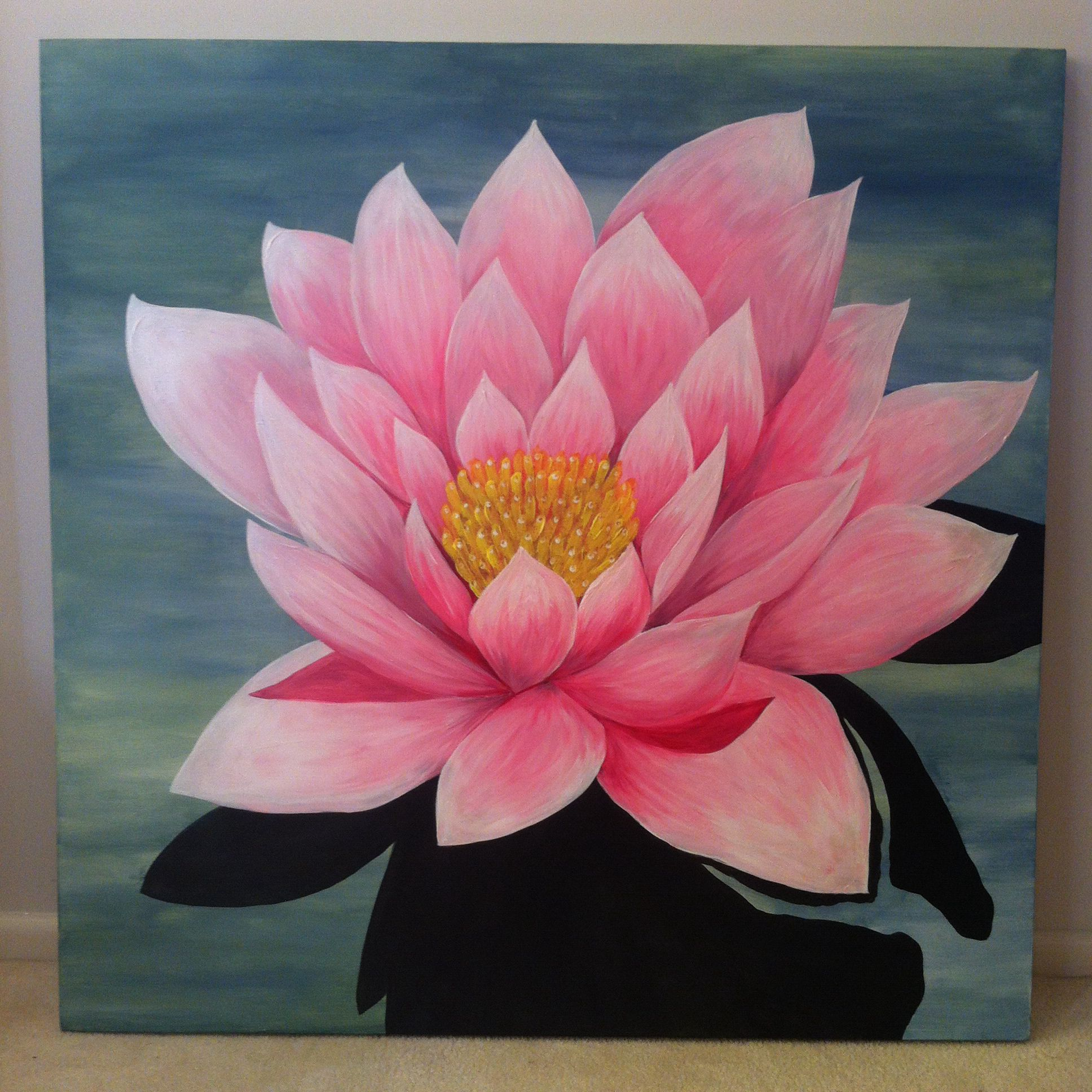 Purity Fortune Wealth Acrylic paint on canvas The lotus flower is