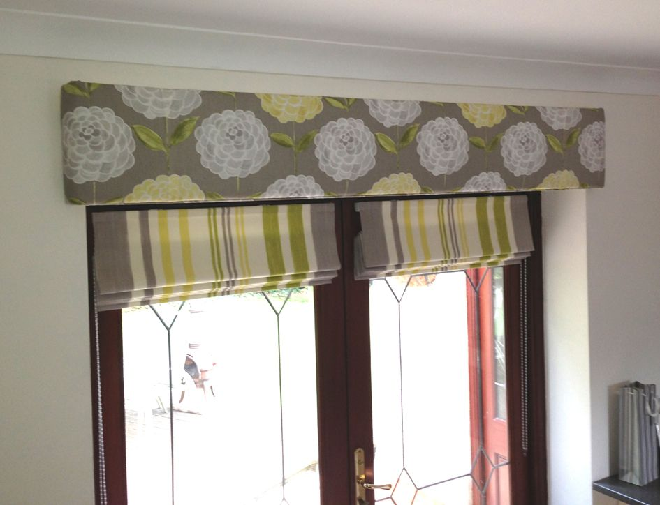 hard padded pelmet and french door roman blinds