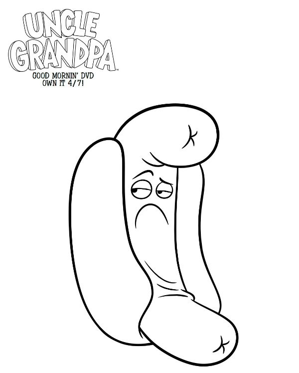 Free Printable Uncle Grandpa Hot Dog Person Coloring Page | coloring ...