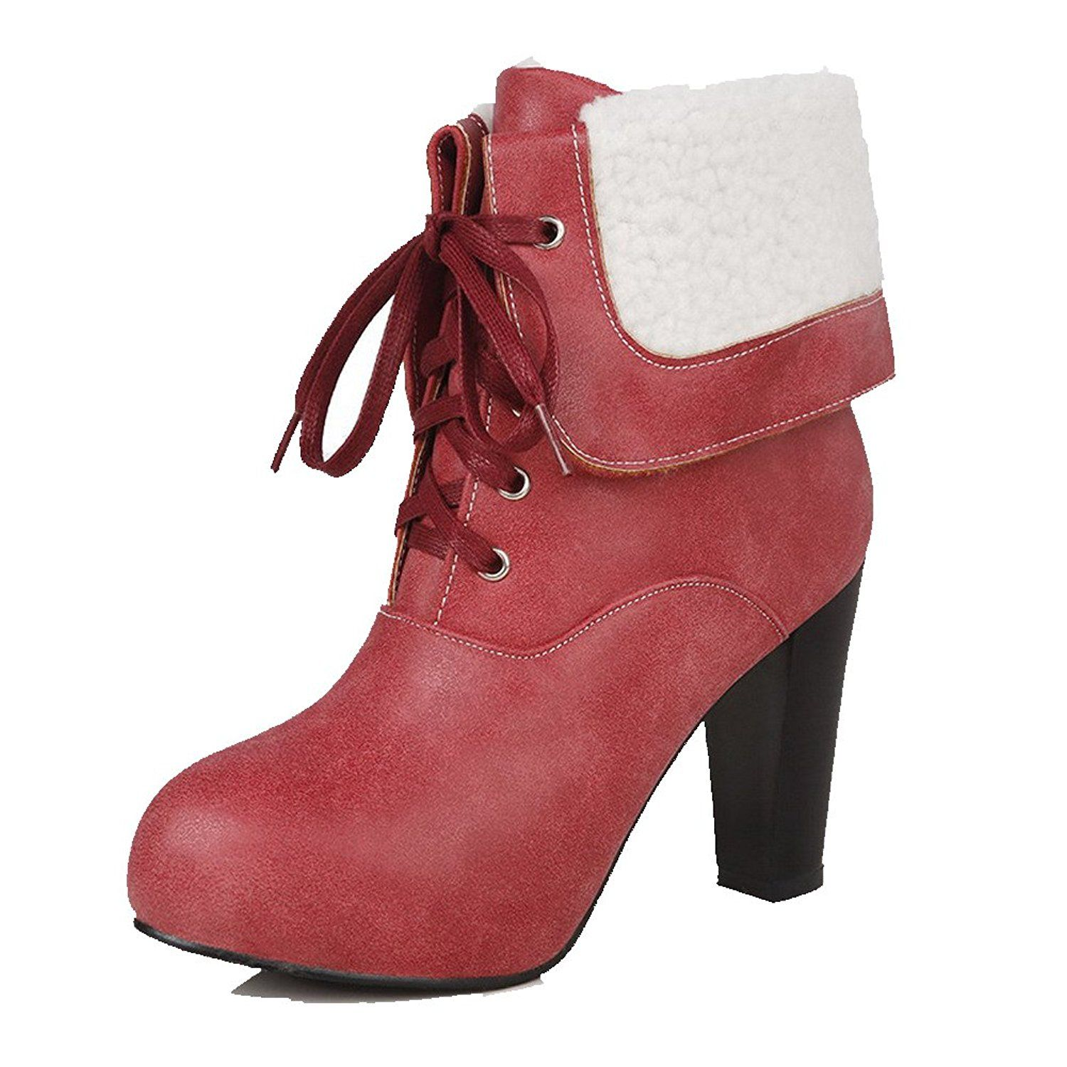 AgooLar Women's Lace Up Round Closed Toe High Heels Solid Boots ** For more information, visit image link.