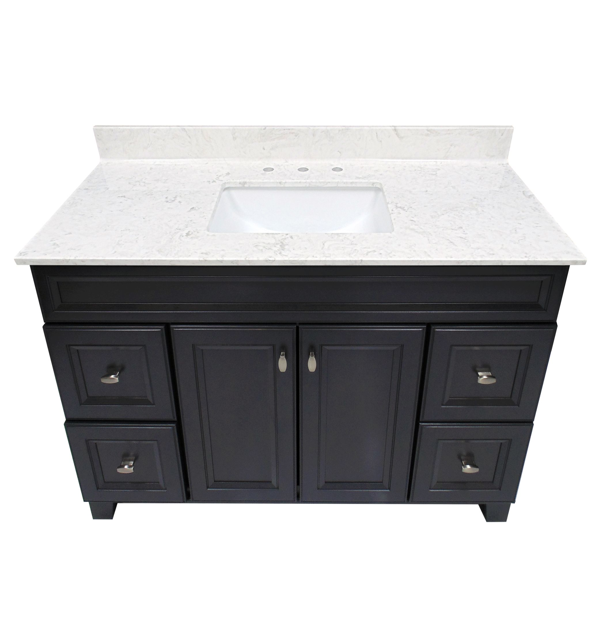 US Marble Cultured Marble Vanity Top. Steel Grey On White With