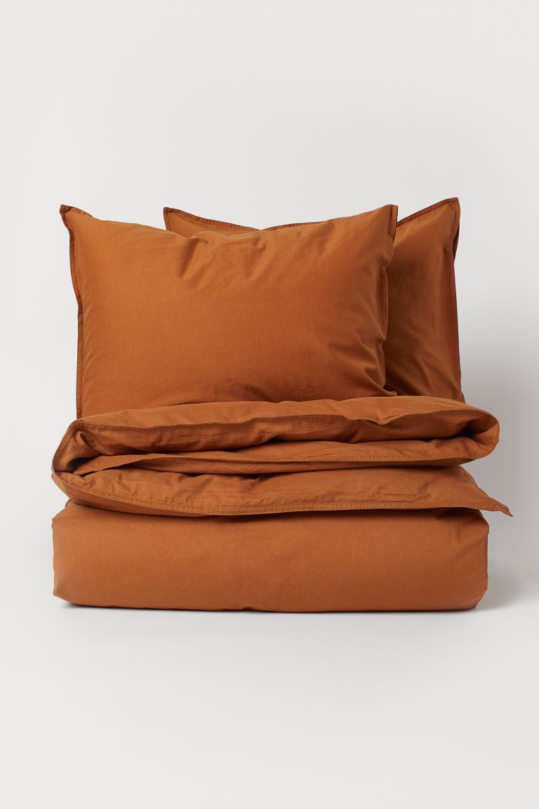Washed Cotton Duvet Cover Set Light Brown Home All H M Us 2 Duvet Cover Sets Bed Linens Luxury Duvet Bedding