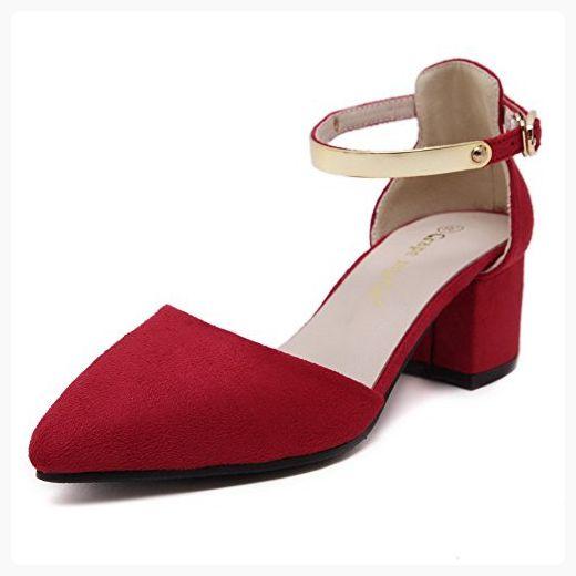 9f63370d381 AalarDom Women s Imitated Suede Kitten-Heels Pointed-Toe Buckle Pumps-Shoes  with Metal