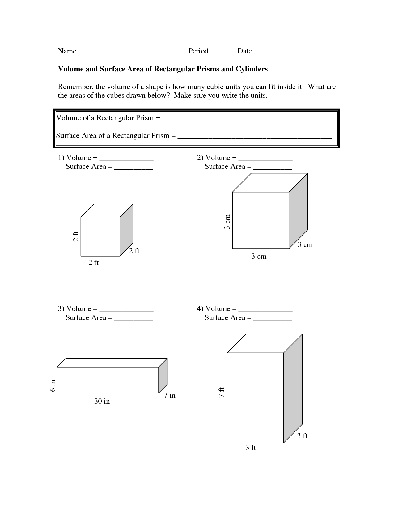 Uncategorized Surface Area Of Rectangular Prism Worksheet volume and surface area worksheets doc