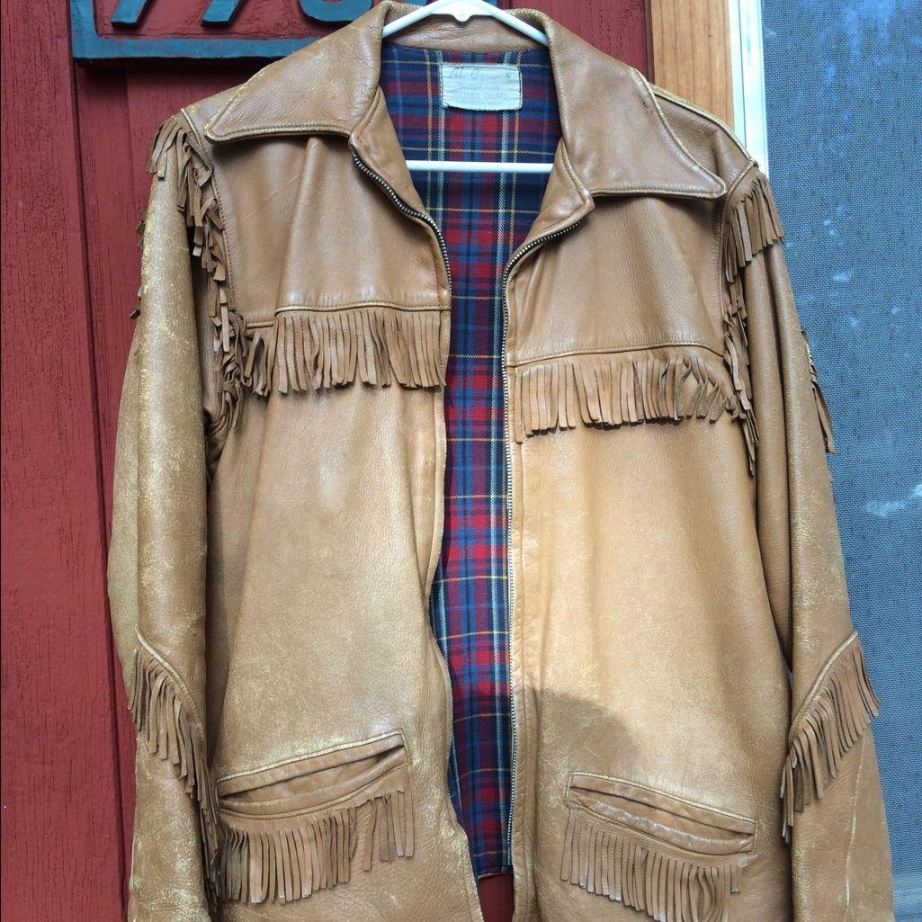 Vintage Fringe Real Leather Jacket. Real leather jacket