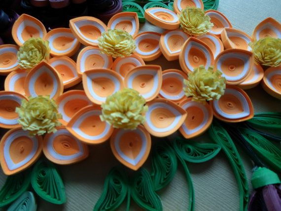 Flowers Wall Decor Paper Flowers Quilled Flowers Wall Hanging Orange