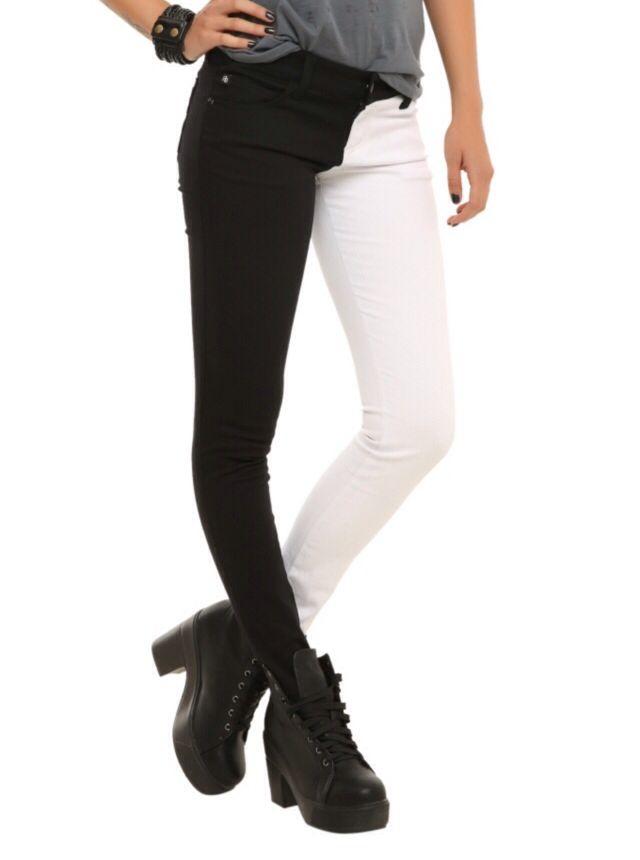 6d29fc08f2 Black and white pants. Black pants. White pants. Half and half pants. I  looove these! I want