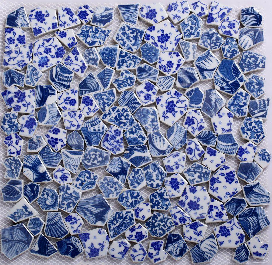 Günstige GM05 Keramik Mosaik Blaue Blume Boden Fliesen