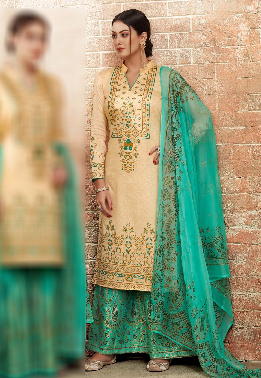39aa292e19 Buy Cream Palazzo Suit 163324 online at lowest price from huge collection  of salwar kameez at Indianclothstore.com.