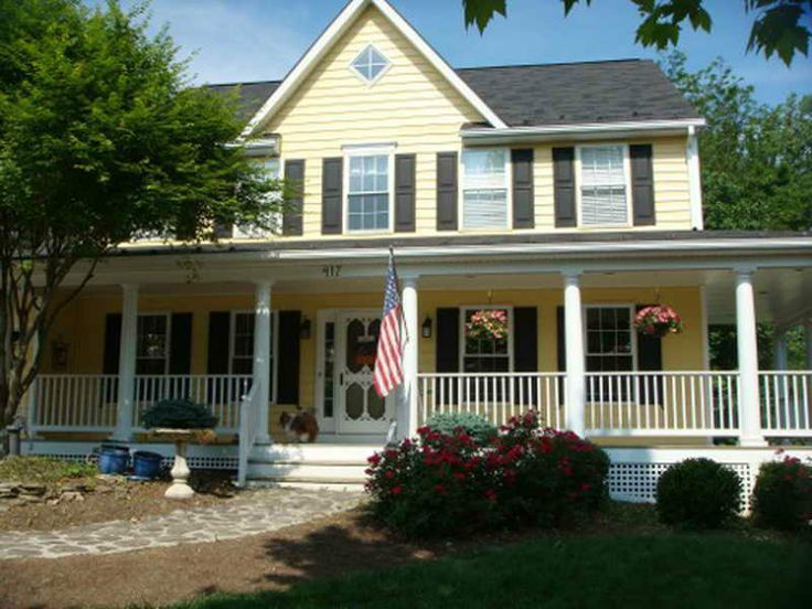 Yellow Siding Black Shutters For The Home Pinterest Yellow House Exterior Exterior House Colors Black Shutters