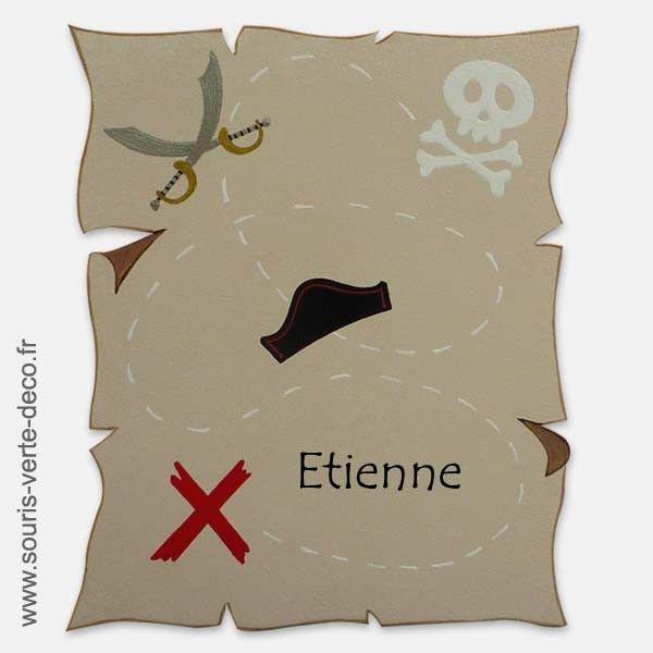 plaque de porte carte au tr sor pirate avec pr nom. Black Bedroom Furniture Sets. Home Design Ideas