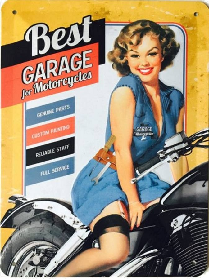 Pinup best garage for motorcycle 2 plaque d corative for Ouvrir son garage moto
