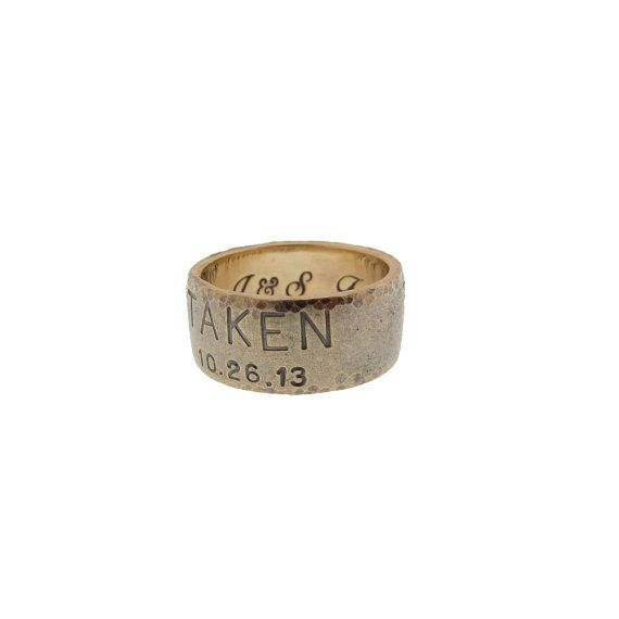 Personalized Mens Gold Duck Band Hand Stamped Wedding Ring Custom Engraved Date Names Taken MetalPressions