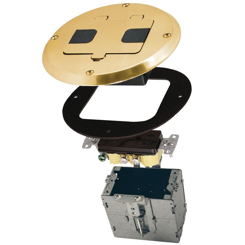 Raco 1 Gang Brass Floor Box Kit With Recessed Duplex 15a