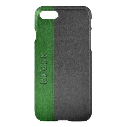 Elegant Black & Green Vintage Leather iPhone 8/7 Case - faux gifts style sample design cyo