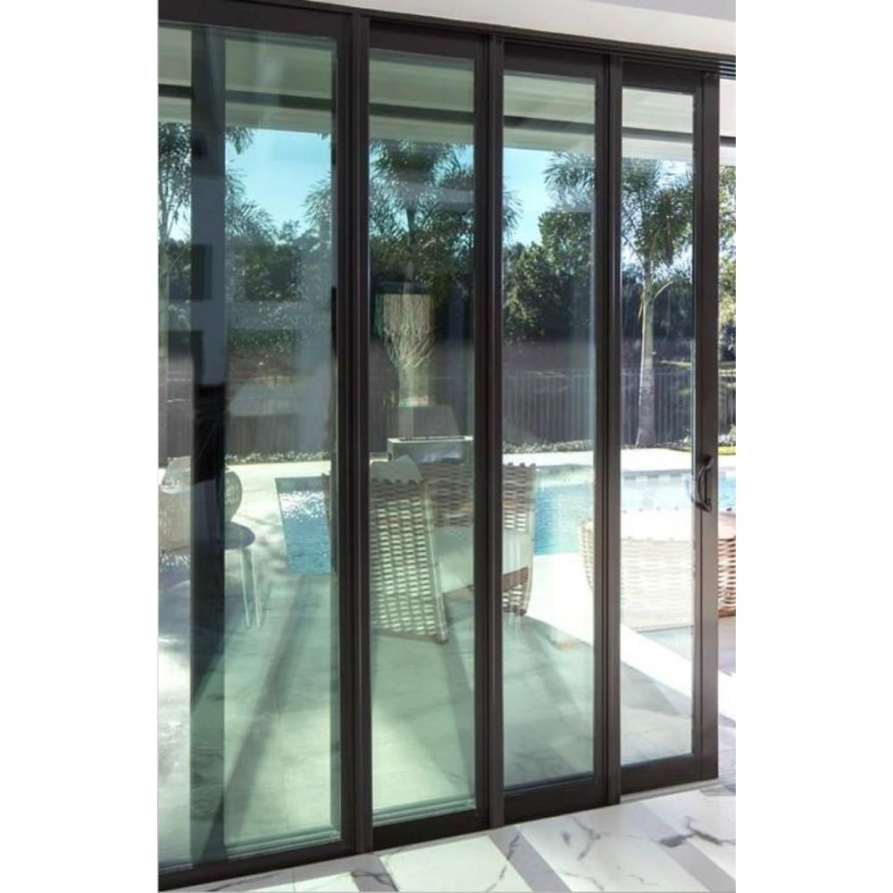 144 In X 84 In Left Slide Black Aluminum Foam Insulated Multi Slide Dbl Prehung Patio Door W Aluminum Frame 101 Simnel In 2020 Patio Doors Sliding Patio Doors Iron Doors
