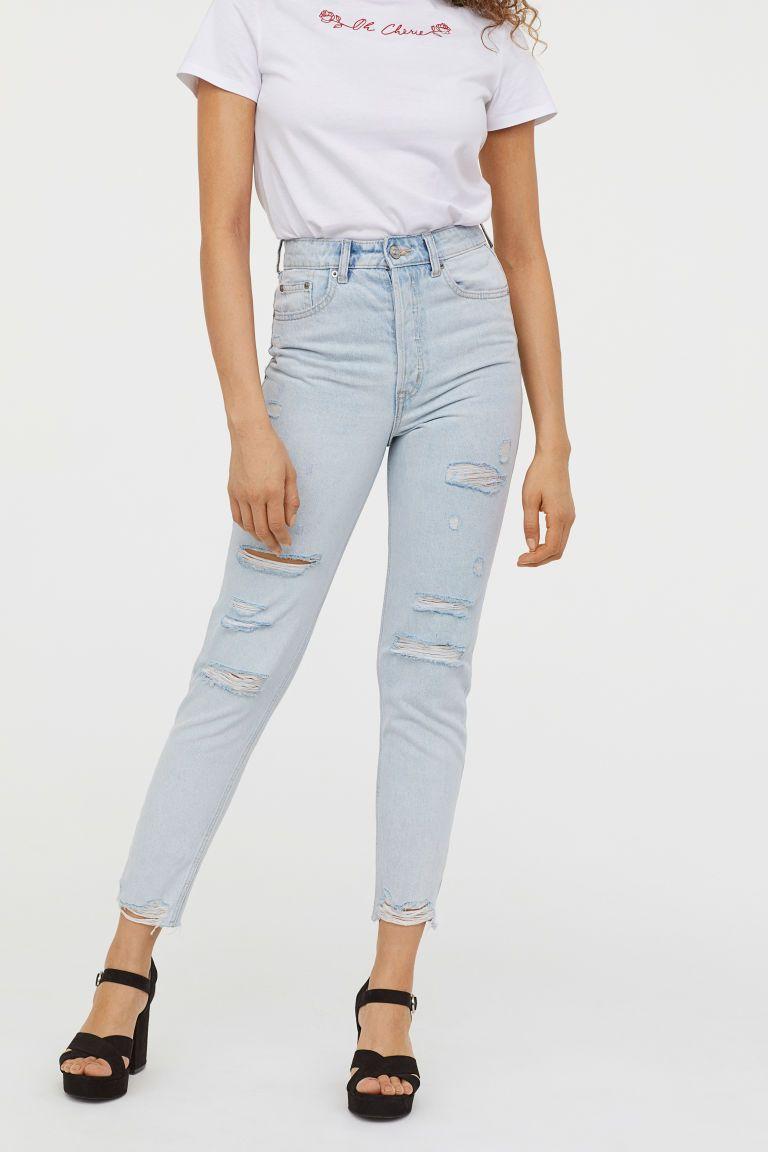 2735f1edb43f Slim Mom Jeans Trashed - Bleg denimblå - DAME