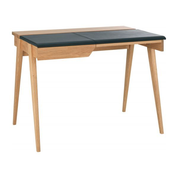 Beckett Kleiner Schreibtisch Aus Eichenholz Und Leder Kleiner Schreibtisch Schreibtisch Holz Eiche Holz