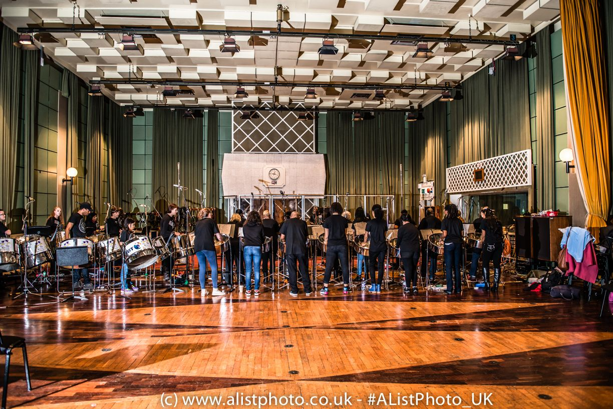 The #Orchestra set-up in the studios, recording one of their tracks - notice red light is on for recoding.