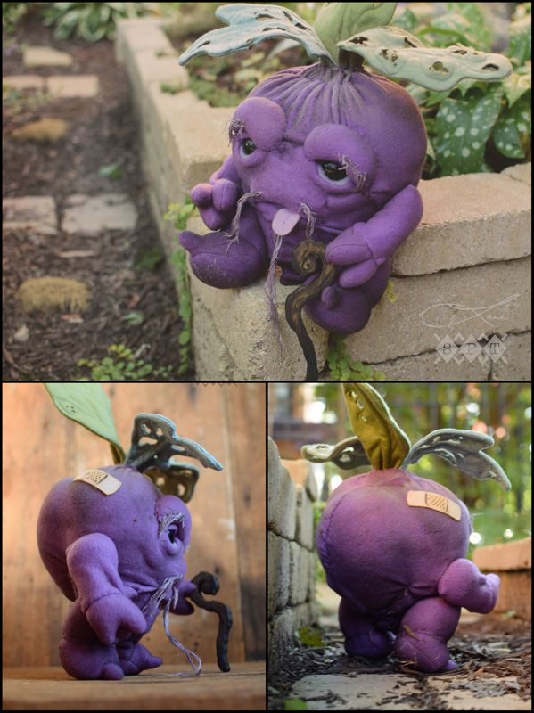 """Old Beetaronomy<br></a><br/>A Collaboration with Scott Tolleson<br/><br/>18""""h x 10""""w x 8""""d<br/><br/>Fleece, Embroidery, Wool, Wood with Printed Tag and Sculpted Beetlings by Scott; Signed and Numbered<br/><br/> Edition of 5 <br/><br/>Inquire (Designer Con 2014)"""