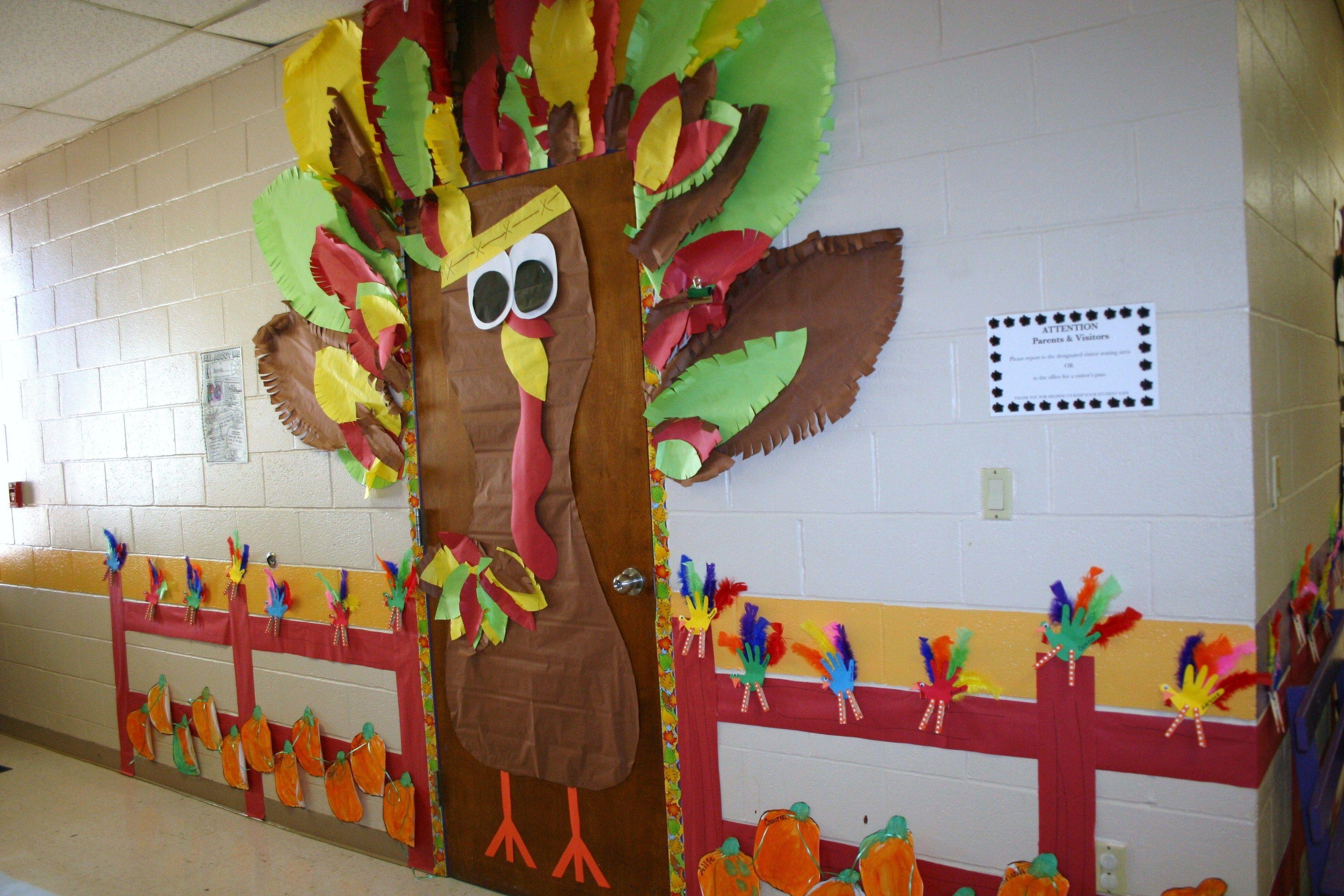 Classroom Turkey Door Decoration Thanksgiving