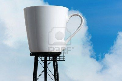 ... water tower stilts. A funny concept for caffeine addiction or coffee