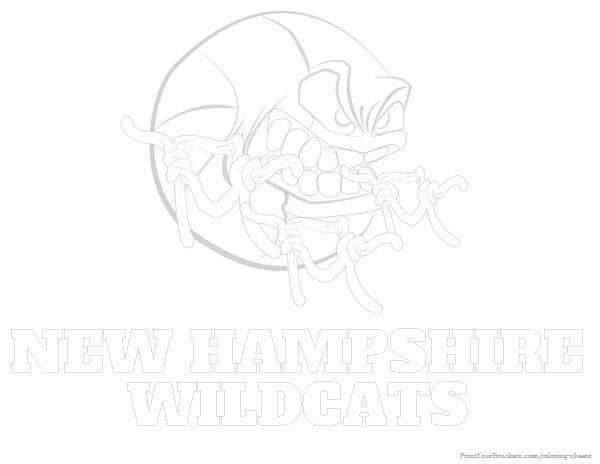 New Hampshire Wildcats Basketball Coloring Sheet - Printable