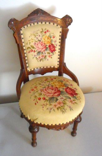 Antique Victorian Needlepoint Parlor Chair