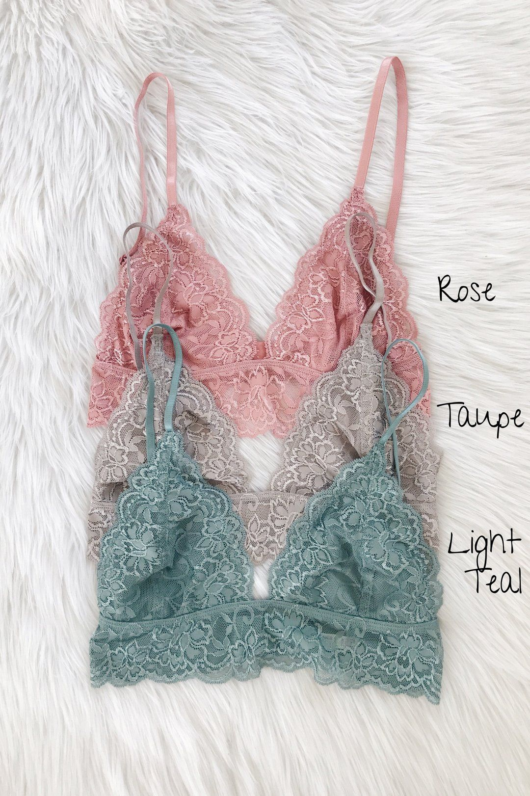 faa1430d04d24 95% Nylon 5% Spandex Gorgeous lace triangle bralette. Lined with soft mesh.  Semi sheer with adjustable straps make fit more customized.
