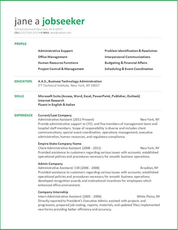 Resume Template For Microsoft Word 2010 Administrative Assistant Resume  Creative Resume Design Templates