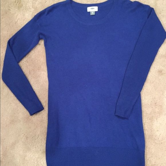 Old Navy Royal Blue Tunic Sweater Thick knit tunic length sweater ...