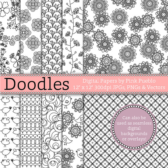 Doodle Digital Paper Pack, Digital Seamless Backgrounds or Photoshop Overlay - Commercial and Personal Use