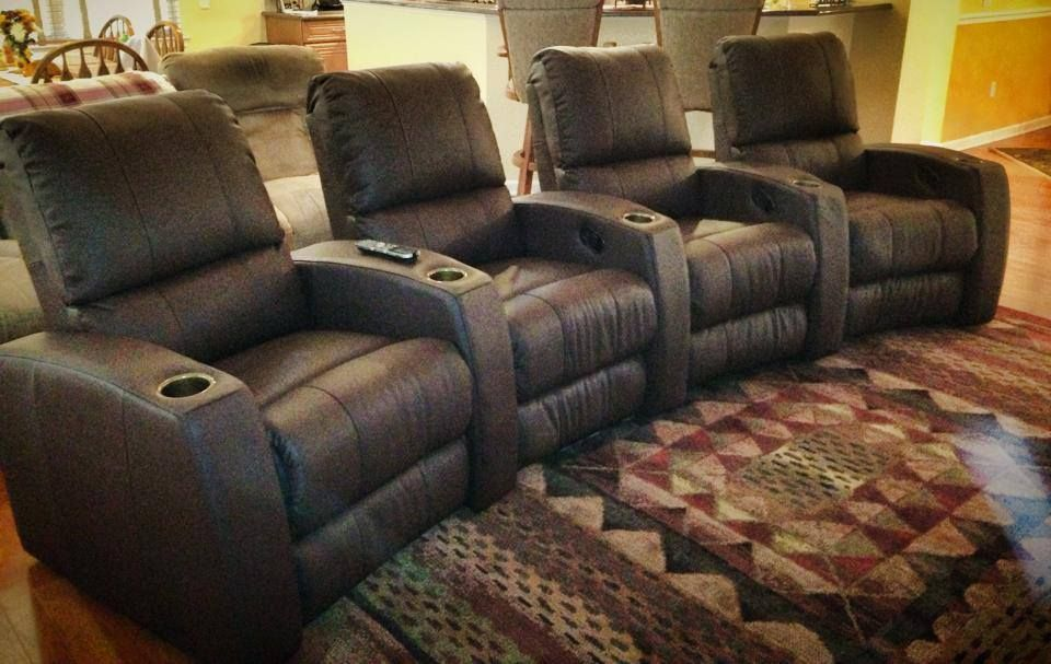 Pacifico Theater Chairs Done In A Broadway Toffee Top Grain Leather.  Somebody Press Play And