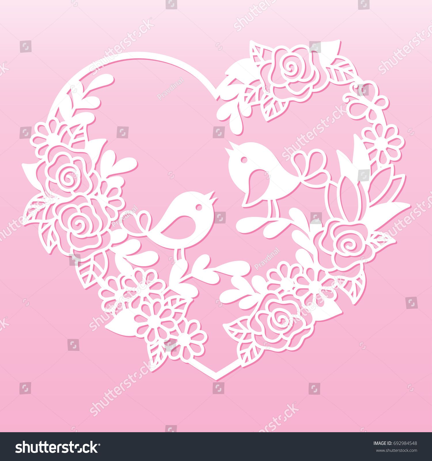 Openwork heart with flowers and birds. Laser cutting template for ...
