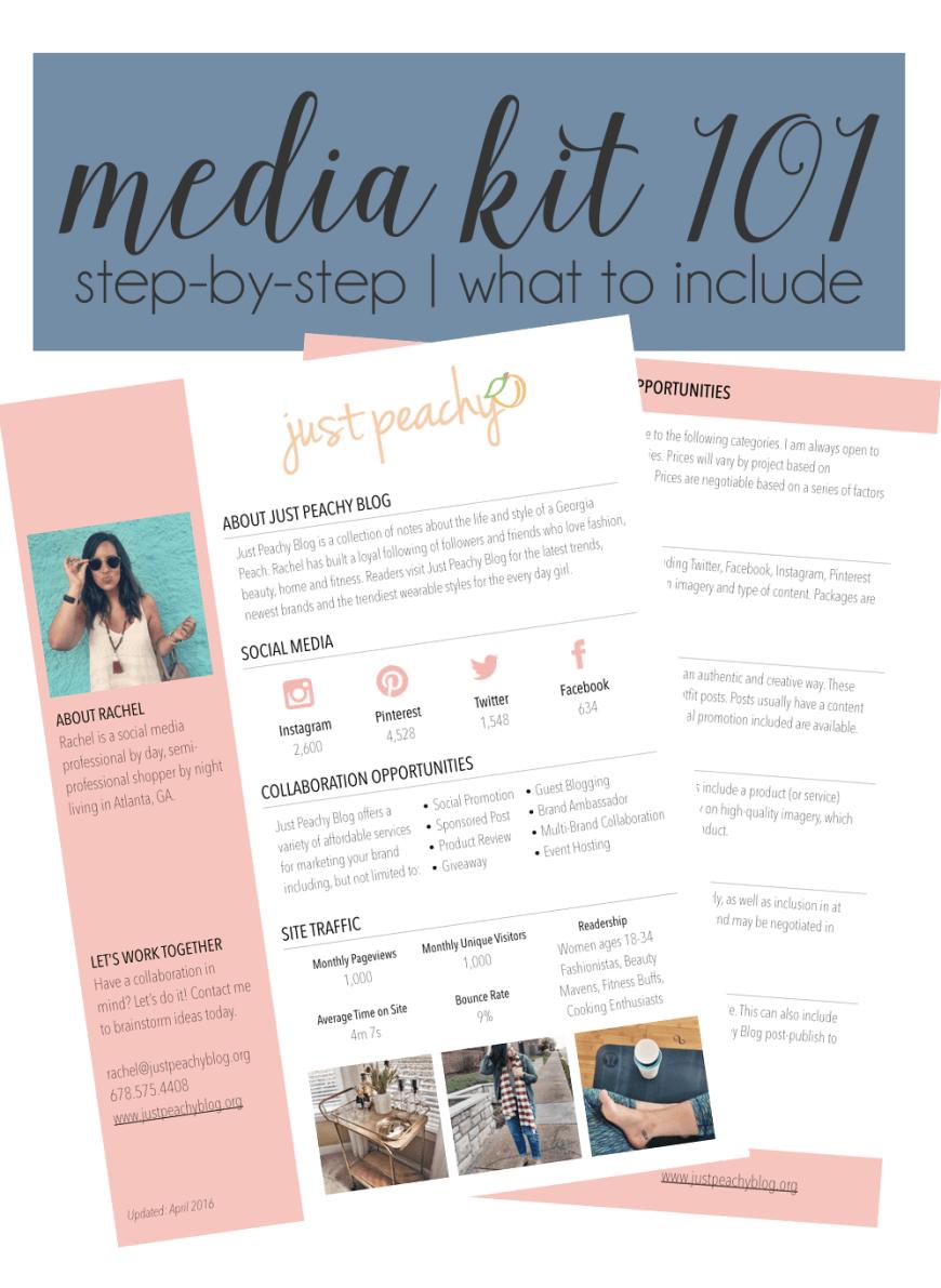 Blogger Media Kit Example | Just Peachy Blog