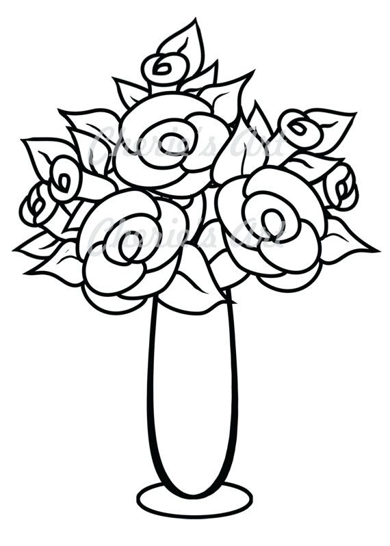 Colouring Pages Of Flowers In Vase : Line art flower vase digi stamp digital download