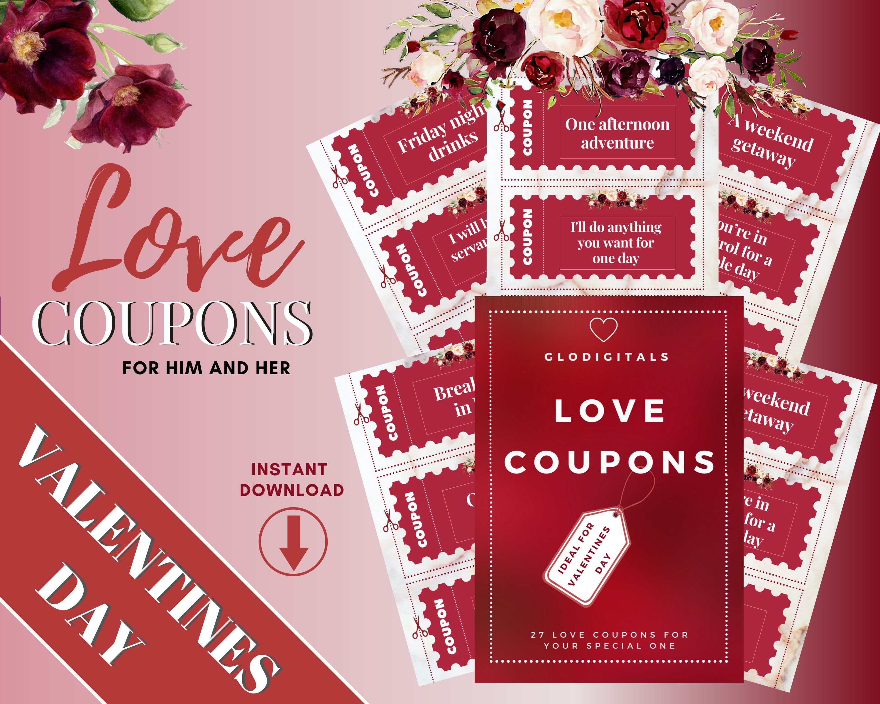 Love Coupons Gift For Her And For Him Last Minute Valentines Gift 27 Printable Coupons For Your Anniversary Buy Now In 2020 Love Coupons Valentine Gifts Gift Coupons