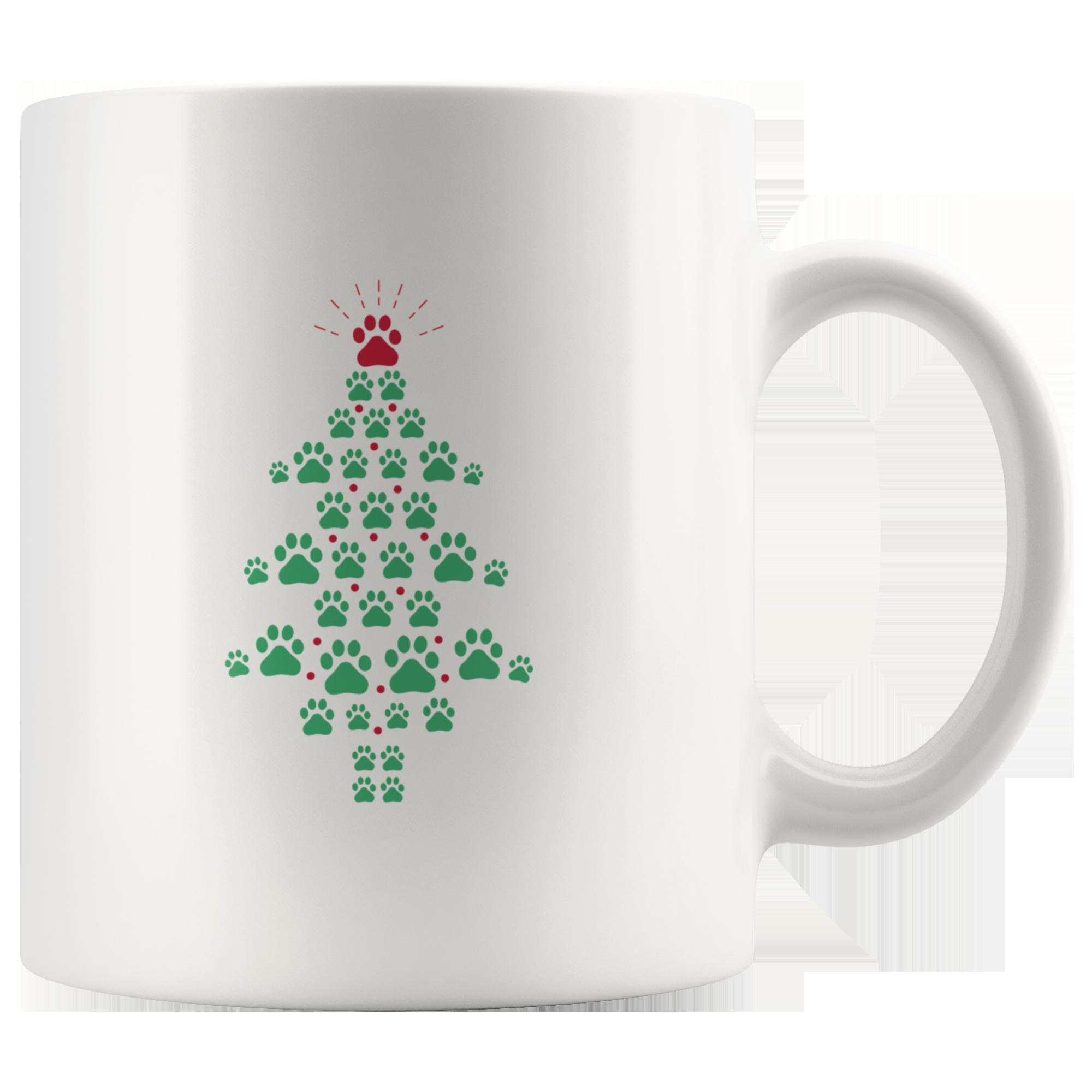Super Cute Dog Paws Print Christmas Tree Mug (With images ...