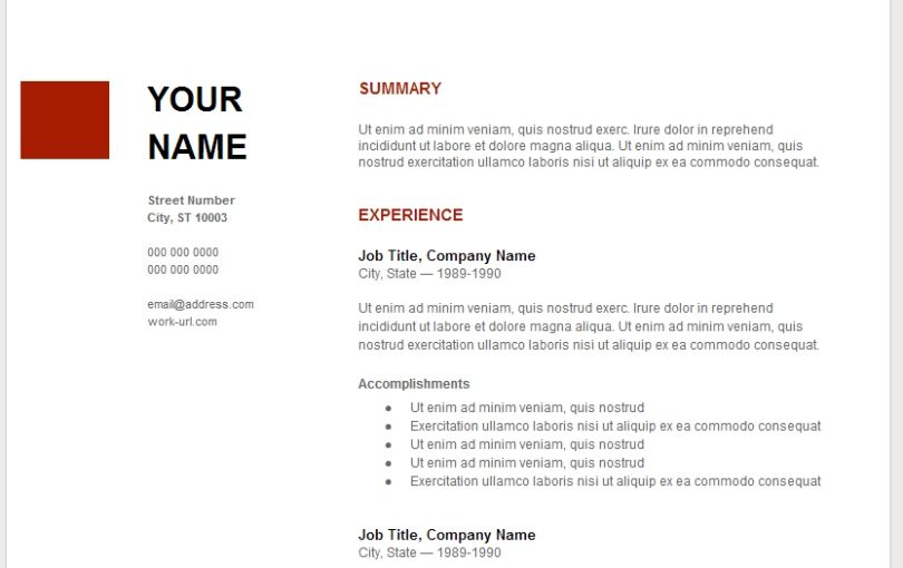 Cv Template Google 1 Cv Template Sample Resume Templates