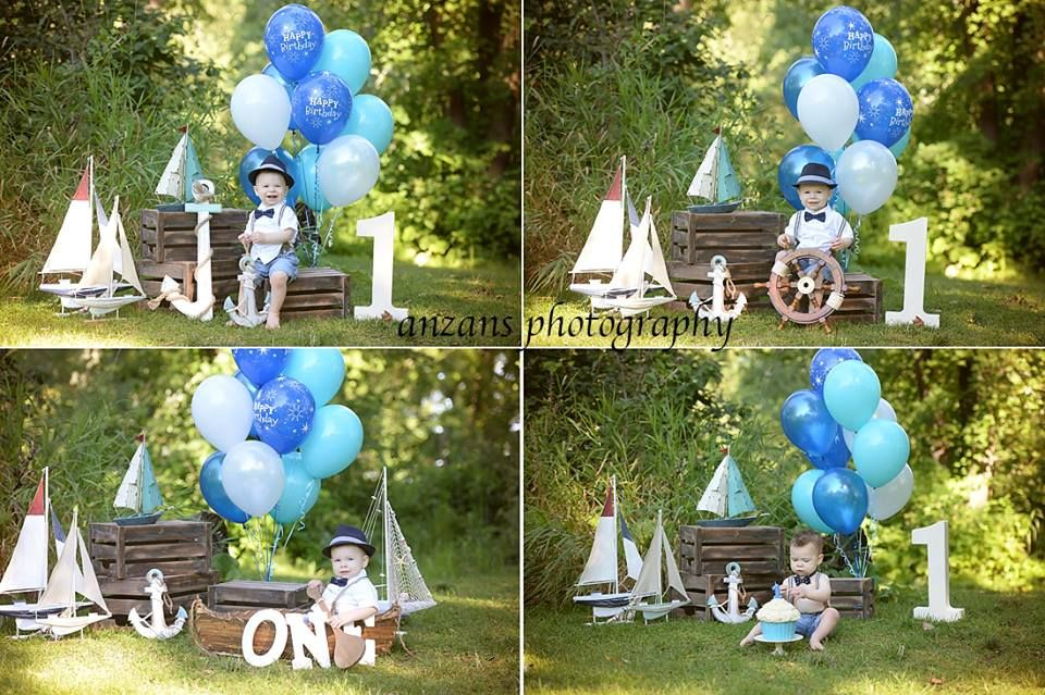 Outdoor one year old birthday cake smash session for boys