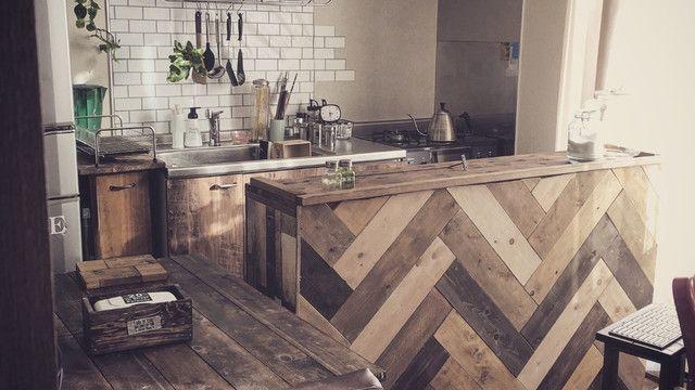 原状回復ok な賃貸インテリア ヘリンボーンのキッチンカウンターdiy