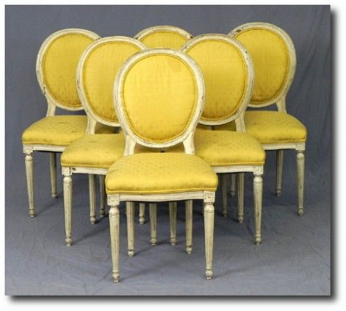 Set Of Six Louis XVI Style Medallion Back Dining Chairs Early 20th C.  Upholstered In