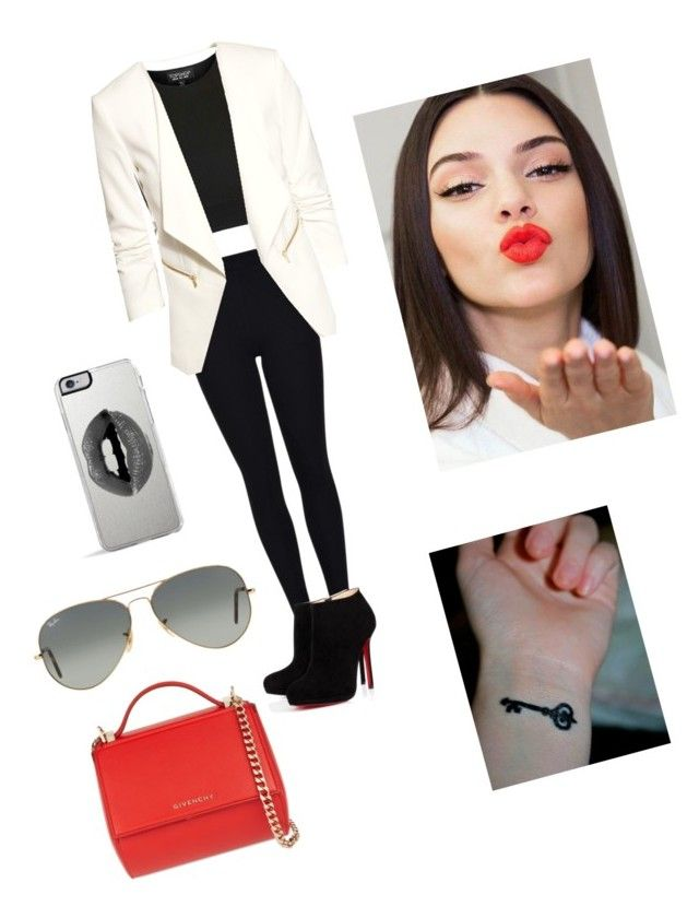 """""""Kendall Jenner"""" by emmatraynor on Polyvore featuring Topshop, H&M, Christian Louboutin, Givenchy, Ray-Ban, Lipsy and Estée Lauder"""
