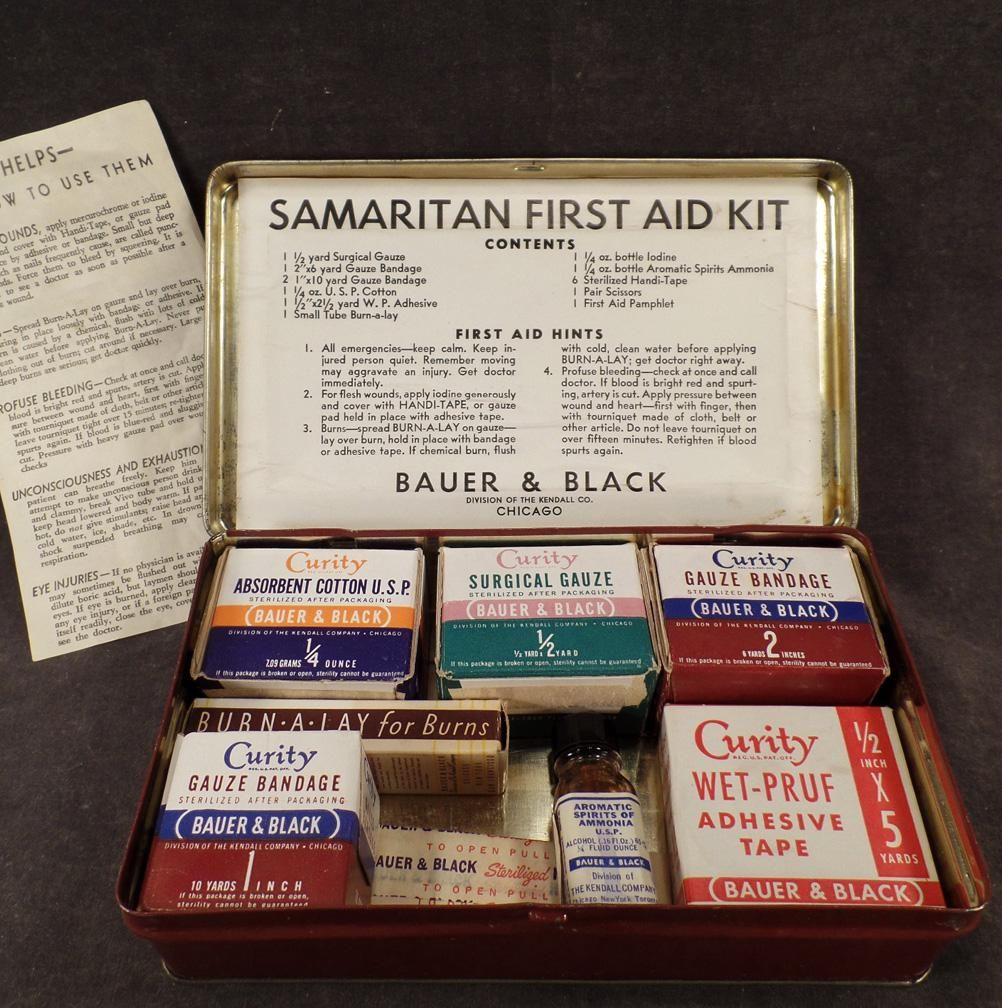 vintage samaritan first aid kit tin with old bauer black curity